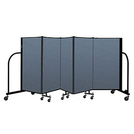 "Screenflex Portable Room Divider 5 Panel, 4'H x 9'5""L, Fabric Color: Blue"
