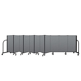 "Screenflex Portable Room Divider 11 Panel, 4'H x 20'5""L, Fabric Color: Gray"