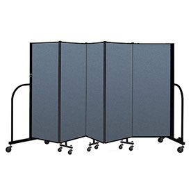 "Screenflex Portable Room Divider 5 Panel, 5'H x 9'5""L, Fabric Color: Blue"