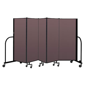 "Screenflex Portable Room Divider 5 Panel, 5'H x 9'5""L, Fabric Color: Mauve"