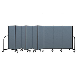 "Screenflex Portable Room Divider 9 Panel, 5'H x 16'9""L, Fabric Color: Blue"