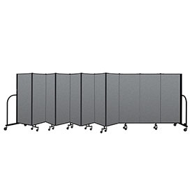 "Screenflex Portable Room Divider 11 Panel, 5'H x 20'5""L, Fabric Color: Gray"
