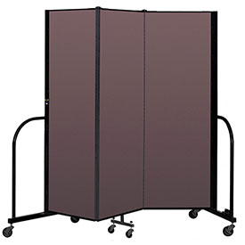 "Screenflex Portable Room Divider 3 Panel, 6'H x 5'9""L, Fabric Color: Mauve"