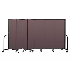 "Screenflex Portable Room Divider 7 Panel, 6'H x 13'1""L, Fabric Color: Mauve"
