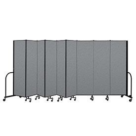 "Screenflex Portable Room Divider 9 Panel, 6'8""H x 16'9""L, Fabric Color: Gray"