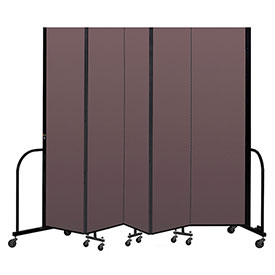 "Screenflex Portable Room Divider 5 Panel, 7'4""H x 9'5""L, Fabric Color: Mauve"