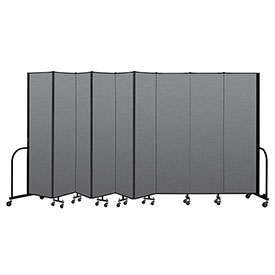 "Screenflex Portable Room Divider 9 Panel, 7'4""H x 16'9""L, Fabric Color: Gray"
