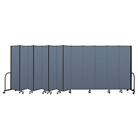 "Screenflex Portable Room Divider 13 Panel, 7'4""H x 24'1""L, Fabric Color: Blue"