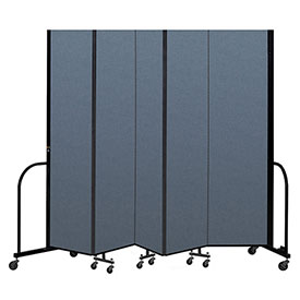 "Screenflex Portable Room Divider 5 Panel, 8'H x 9'5""L, Fabric Color: Blue"