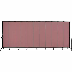 "Screenflex Portable Room Divider 11 Panel, 8'H x 20'5""L, Fabric Color: Mauve"