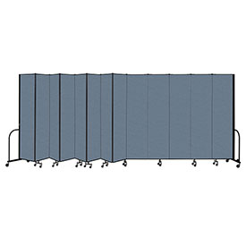 "Screenflex Portable Room Divider 13 Panel, 8'H x 24'1""L, Fabric Color: Blue"