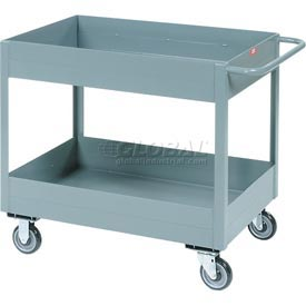 "Jamco Gray All Welded 6"" Deep Shelf Cart LS248 1200 Lb. Capacity 48x24"