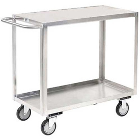 Jamco Stainless Steel Stock Cart XB130 2 Shelves Flush Top Shelf 30x18