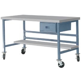 "Mobile 60"" X 30"" Plastic Top Workbench - Blue"
