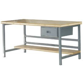 """Stationary 72"""" X 36"""" Shop Top Square Edge Workbench - Gray"""