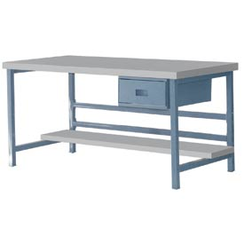 "Stationary 72"" X 30"" Plastic Laminate Square Edge Workbench  - Blue"