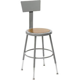 "Shop Stool with Back and Hardboard Seat – Adjustable Height 18""-27"" - Gray - Pkg Qty 2"