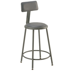 "Shop Stool with Back and Padded Seat - Adjustable Height 18"" - 27"" - Gray"