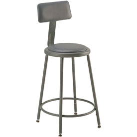 "Shop Stool with Back and Padded Seat - Adjustable Height 24"" - 33"" - Gray"