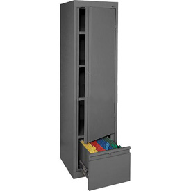 Sandusky System Series Storage Cabinet with File Drawer HADF171864 Single Door - 17x18x64, Charcoal