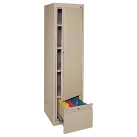 Sandusky System Series Storage Cabinet with File Drawer HADF171864 Single Door - 17x18x64, Putty
