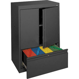 Sandusky System Series Counter Height Cabinet with File Drawer HFDF301842 - 30x18x42, Black