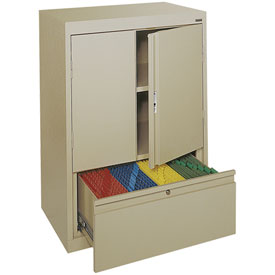 Sandusky System Series Counter Height Cabinet with File Drawer HFDF301842 - 30x18x42, Putty