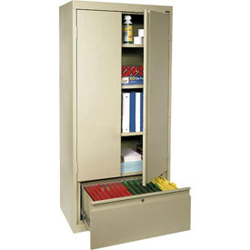 Sandusky System Series Storage Cabinet with File Drawer HADF301864 - 30x18x64, Putty