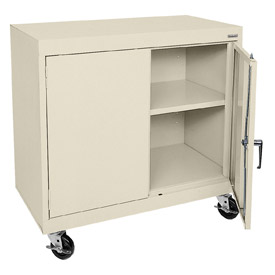Sandusky Mobile Work Height Storage Cabinet TA11361830 Double Door - 36x18x30, Putty