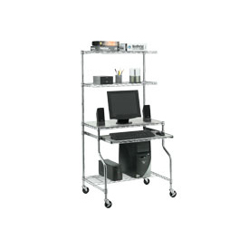 "Chrome Wire Shelf Mobile Computer Workstation, 31-1/2""W x 24""D x 63""H"