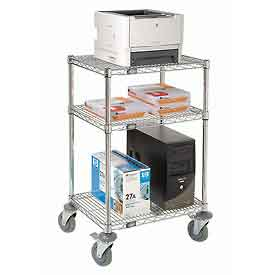 "Nexel™ 3-Shelf Mobile Wire Printer Stand, 24""W x 18""D x 39""H, Chrome"