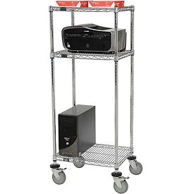 "Mobile Printer Stand 24""W X 18""D X 59""H - Chrome"