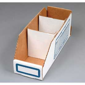 "Corrugated Cardboard Divider for Shelf Bin 6""W, White  - Pkg Qty 250"