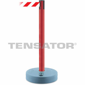 Tensabarrier Red Outdoor Post 7.5'L Red/White Chevron Retractable Belt Barrier