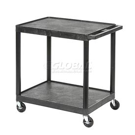 Luxor® HE32 Black Plastic Shelf Truck 24 x 18 x 33-1/2 2 Shelves