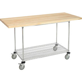 "72""W x 30""D Mobile Workbench with Wire Rack - Maple Butcher Block Square Edge"