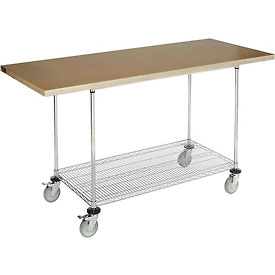 "72""W x 30""D Mobile Workbench with Wire Rack - Shop Top Square Edge"
