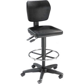 Multifunctional Task Stool with 360 Footrest- Polyurethane - Black