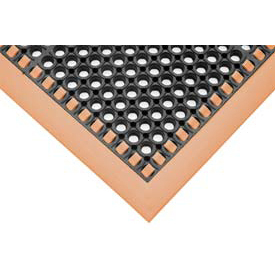 "7/8"" Thick Hi-Visibility Safety Mat with Borders on 4 Sides - 40x40 Orange"