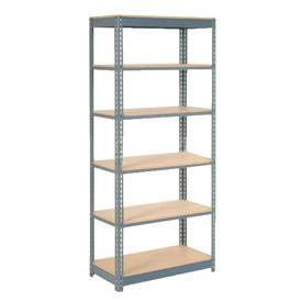 "Heavy Duty Shelving 36""W x 12""D x 60""H With 6 Shelves, Wood Deck"