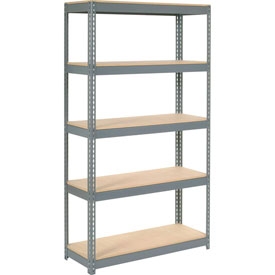"Extra Heavy Duty Shelving 48""W x 18""D x 60""H With 5 Shelves, Wood Deck"