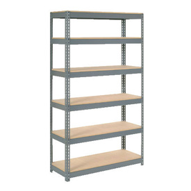 "Extra Heavy Duty Shelving 48""W x 24""D x 60""H With 6 Shelves, Wood Deck"