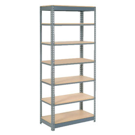 "Heavy Duty Shelving 36""W x 18""D x 84""H With 7 Shelves, Wood Deck"