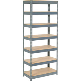 "Extra Heavy Duty Shelving 36""W x 18""D x 84""H With 7 Shelves, Wood Deck"