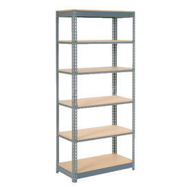 "Heavy Duty Shelving 36""W x 12""D x 96""H With 6 Shelves, Wood Deck"