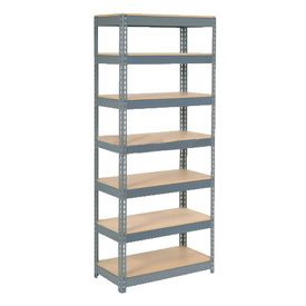 "Extra Heavy Duty Shelving 36""W x 18""D x 96""H With 7 Shelves, Wood Deck"