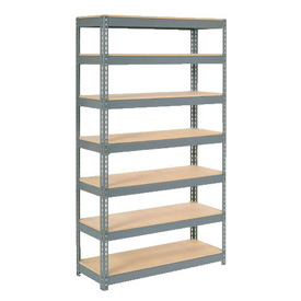 "Extra Heavy Duty Shelving 48""W x 18""D x 96""H With 7 Shelves, Wood Deck"