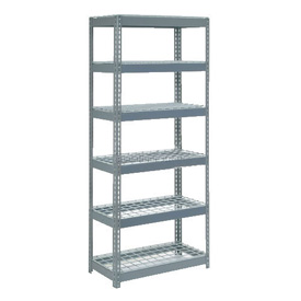 "Extra Heavy Duty Shelving 36""W x 12""D x 96""H With 6 Shelves, Wire Deck"