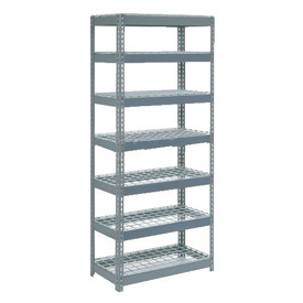 "Extra Heavy Duty Shelving 36""W x 12""D x 96""H With 7 Shelves, Wire Deck"