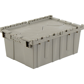 Plastic Storage Container - Attached Lid DC2115-09 21-7/8 x 15-1/4 x 9-11/16 Gray